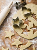 Cutting Out Heart-Shaped and Star-Shaped Biscuits Photographic Print