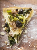 Two Pieces of Pizza with Mince, Olives, Spinach and Cheese Reproduction photographique