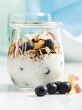 Yoghurt with Muesli, Blueberries, Apple and Dried Fruit Fotografie-Druck von Dieter Heinemann