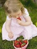 Small Girl Eating Strawberries on Grass Reproduction photographique