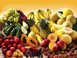 Display of Exotic Fruit with Stone Fruits, Berries and Avocados Lámina fotográfica