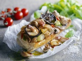 Baguette with Mushrooms and Onions Fotografie-Druck