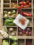 Various Types of Vegetables, Spices and Mushrooms in Type Case Fotografie-Druck