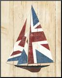 British Flag Sailboat Mounted Print by Avery Tillmon