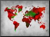 World Watercolor Map 11 Impressão montada por  NaxArt