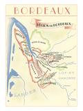 Map of Bordeaux Region of France Posters