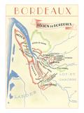Map of Bordeaux Region of France 高品質プリント