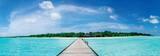 En brygga som leder till ett vackert tropiskt maldiviskt paradis Affischer