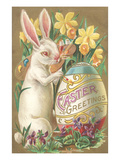 Rabbit with Egg and Daffodils Posters
