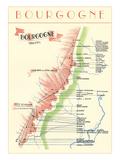 Mapa de francés Bourgogne Wine Country  Arte