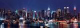 Manhattans skyline, panorama over Hudson-floden, aften Plakat