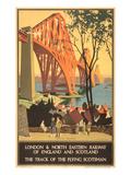 Travel Poster for Flying Scotsman, Forth Bridge Kunstdrucke