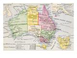 Old Karte von Australien Giclée-Premiumdruck