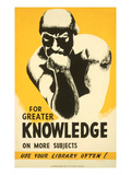 Library Poster with the Thinker Art