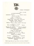 Luncheon Menu on the Titanic Kunstdrucke