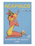 Acapulco Travel Poster, Sunbather Kunstdruck
