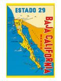 Karte von Baja Kalifornien, Mexico Poster