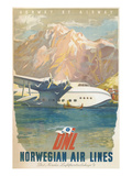 Travel Poster, Norwegian Air Lines Láminas