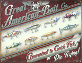 Great American Bait Co. Distressed Retro Vintage Tin Sign Placa de lata