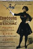 Concours Internationaux d'Escrime, 1900 Summer Olympics, Poster Impressão giclée