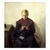A Young Girl Knitting, Maren Brens, 1887 Gicléetryck av Michael Peter Ancher