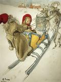 Kersti Sledging, 1901 Giclée-tryk af Carl Larsson