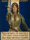 Joan of Arc Saved France, Women of America Save Your Country, WWI Poster Giclée-tryk af William Haskell Coffin