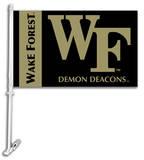 NCAA Wake Forest Car Flag with Wall Bracket Flag