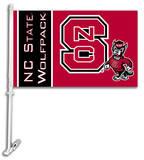 NCAA North Carolina State Wolfpack Car Flag with Wall Bracket Flag