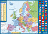 Desk Mat European Map Skrivebordsunderlag