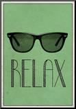 Relax Retro Sunglasses Art Poster Print Impressão montada