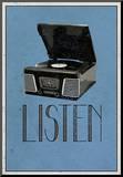 Listen Retro Record Player Art Poster Print Druck aufgezogen auf Holzplatte