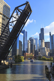 Chicago River and Downtown Towers, Willis Tower, Chicago, Illinois, USA Photographic Print by Amanda Hall