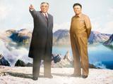 Painting of Kim Jong Il and Kim Il Sung, Pyongyang, Democratic People's Republic of Korea, N. Korea Fotografisk trykk av Gavin Hellier