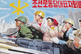 Propaganda Poster, Wonsan City, Democratic People's Republic of Korea (DPRK), North Korea, Asia Fotografisk tryk af Gavin Hellier