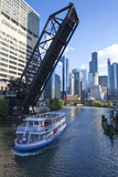 Tour Boat Passing under Raised Disused Railway Bridge on Chicago River, Chicago, Illinois, USA Photographic Print by Amanda Hall