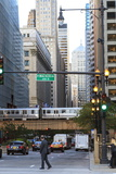 El Train Crossing North Clark Street, the Loop, Chicago, Illinois, United States of America Photographic Print by Amanda Hall