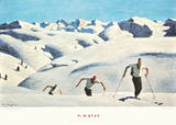 The Ascent of the Skiers (landscape) Poster di Alfons Walde