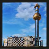 District Heating Plant Spittelau , Vienna Kunst av Friedensreich Hundertwasser
