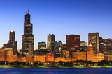 Chicago Skyline and Lake Michigan at Dusk with the Willis Tower on the Left, Chicago, Illinois, USA Photographic Print by Amanda Hall