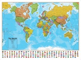 Hemisphären Blauer Ozean Welt Landkarte, laminiertes Informations Poster Poster