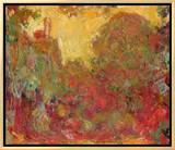 The House Seen from the Rose Garden, 1922-24 Impressão em tela emoldurada por Claude Monet