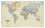 Hemispheres Boardroom Series World Wall Map, Educational Poster Posters