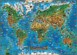 Animals of the World Map Educational Poster Affiches