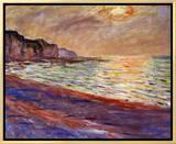 Beach at Pourville, Sunset, 1882 Impressão em tela emoldurada por Claude Monet