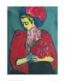 Girl with Peonies Giclee-trykk av Alexej Von Jawlensky