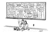 Two mathematicians sitting beneath a giant chalkboard smoking. - New Yorker Cartoon Lámina giclée prémium por Tom Cheney
