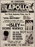 Apollo Theatre Ad: Soul Brothers, Isley Brothers, Dionne Warwick, Five Royales, Charades, Carletons Prints