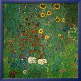 Jardin aux tournesols, vers 1912 Reproduction encadrée par Gustav Klimt