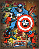 Marvel Comics - Captain America (Retro) Stampa
